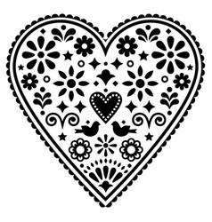 Mexican heart folk art design monochrome vector