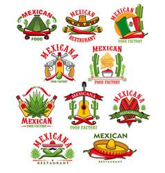 Mexican restaurant icons cartoon emblems vector
