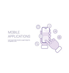 mobile applications business concept template web vector image