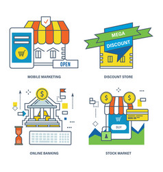 mobile marketing discount store online banking vector image