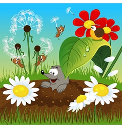 mole in the ground and insects vector image