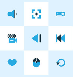 Music icons colored set with favorite replay vector
