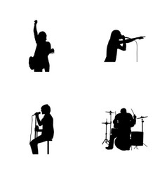 musician band silhoutte vector image