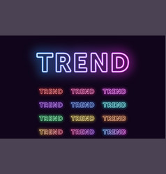 Neon text trend expressive title word trend vector
