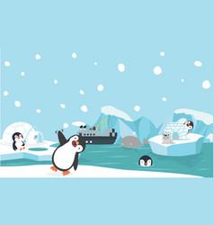 north pole animals background vector image