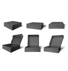 open black packaging box dark cardboard opened vector image