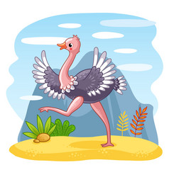 ostrich is walking along a sandy glade vector image