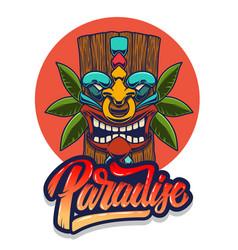Paradise emblem template with tiki idol design vector