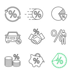 percents linear icons set vector image