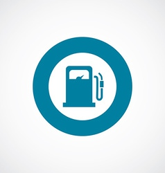 Petrol station icon bold blue circle border vector