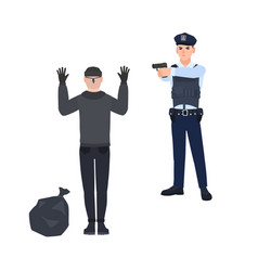 policeman in police uniform pointing gun at robber vector image