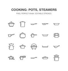 Pot pan and steamer line icons restaurant vector
