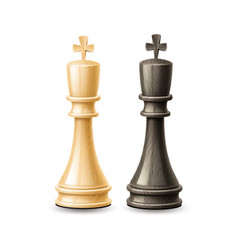 Realistic 3d king chess pieces black white vector