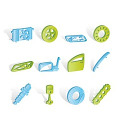 realistic car parts and services icons vector image vector image