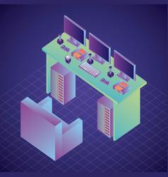 Room interior virtual reality sofa tagle computers vector