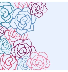 Rose flower invitation card vector