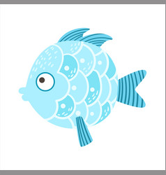 Round blue scaled fantastic colorful aquarium fish vector