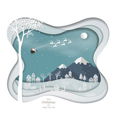 santa clause flying above city village vector image