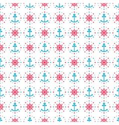 seamless sea background of anchors and hand wheels vector image