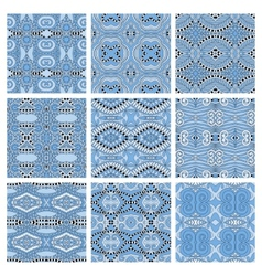 Set of different seamless blue colour geometric vector