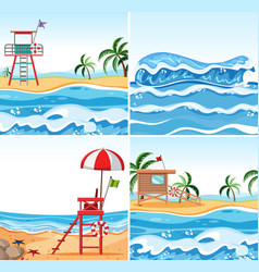 set of summer beach background vector image
