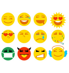 set smile icon love joy sick sad anger vector image