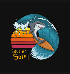 shark surfing sunset vector image