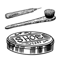 Shoe cream and brush for cleaning soles vector