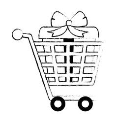 Shopping cart with gifts vector