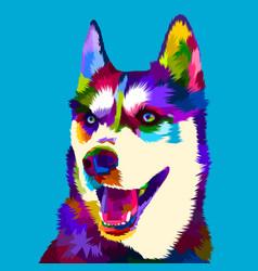 Siberian husky dog in pop art style vector