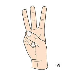 Sign language and the alphabetThe Letter w vector