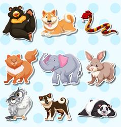sticker design with wild animals on blue vector image