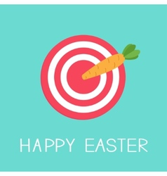 Target with carrot arrow Happy easter card Flat vector image