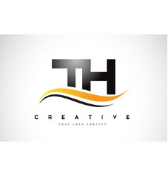 Th t h swoosh letter logo design with modern vector