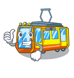 Thumbs up electric train isolated with cartoon vector