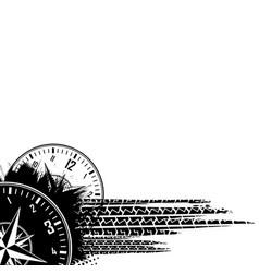 Tire track clock grunge background vector