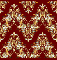 vintage floral seamless pattern red background vector image