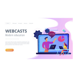 Webcasts and modern education landing page vector