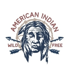 American indian t-shirt graphic vector image vector image