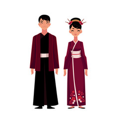 chinese people in national costumes dress and vector image vector image