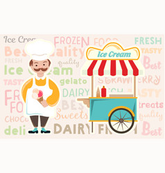ice cream and ice cream trolley on the background vector image