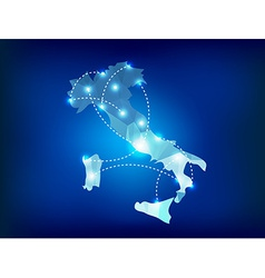 Italy country map polygonal with spot lights place vector image vector image
