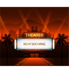 Now showing theater movie banner sign vector image vector image