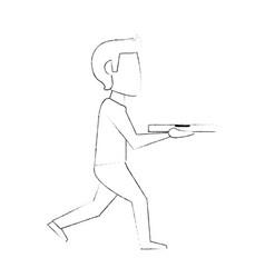 pizza deliver cartoon vector image vector image