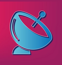 satellite dish sign blue 3d printed icon vector image