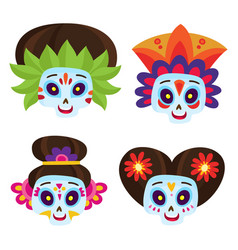set with colorful skulls for day of the vector image vector image