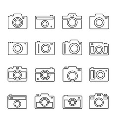 camera outline set vector image vector image