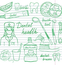 Dental health doodles icons set Hand drawn sketch vector image