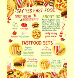 fast food restaurant snacks menu template vector image vector image