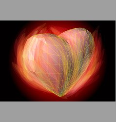 heart in flame vector image vector image